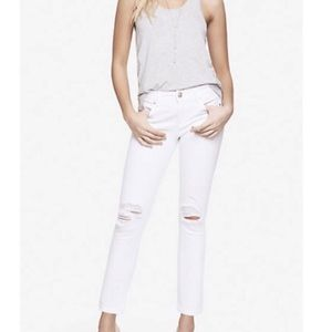 Express white distressed jeans